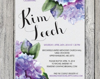 Bridal Shower Invitation watercolor floral hydrangea purple green grey DIGITAL FILE Customizable