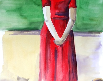 """Figurative art, Original watercolor painting, about waiting, Size 13.8""""x19,7"""", Cotton paper Guarro 240 g/m2, Made in Chile"""
