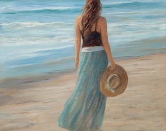Beach greeting card,  girl, woman, coastal, beach art, shabby chic, nautical,  from original oil painting by Tina O'Brien