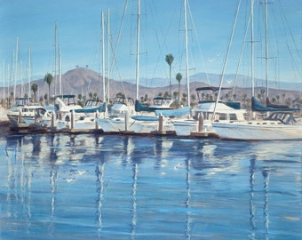 Beach Print, Ventura Harbor II, from original oil painting by Tina O'Brien