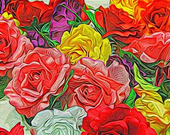 Flower fine art  Photography - Roses in vivid Colors,  photography print