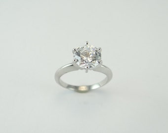 14K Solid White Gold 2 Carat Round SWAROVSKI CZ Solitaire Engagement Ring 6 Prong 8 millimeter