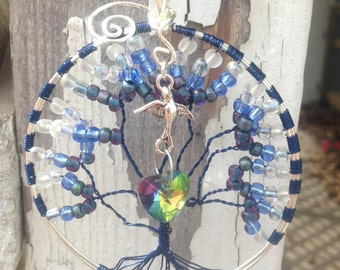 SALE Was 30.00 ** Peace and Love Tree of Life in Blue (Extra Large)