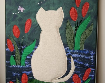 Watching Wall Hanging / Cat Tapestry / Handmade Wall Tapesty / Mix Media Wall Art