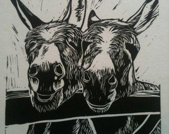 """Linocut Two donkeys """"Best of Friends"""""""