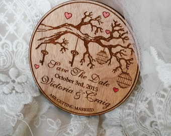 bewitched forest (100) / wood save the date magnet / tree save the date / wedding magnet / unique save the date / round save the date magnet