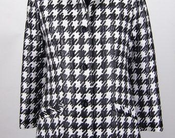Black White Houndstooth Long Jacket Coat Size 6