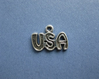 8 USA Charms - USA Pendants - America Charms - Patriotic Charms - Antique Tibetan Silver- 11mm x 15mm -- (L1-10858)