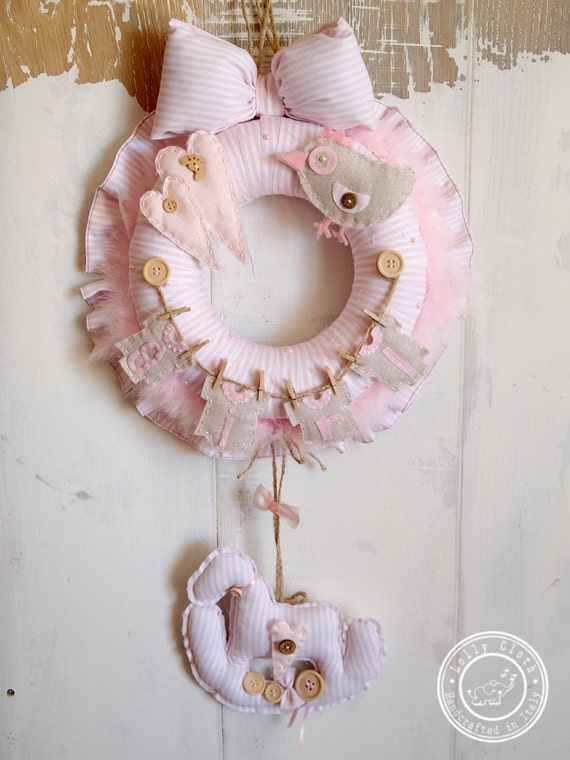 Hospital door hanger decoration baby girl birth by for Baby girl hospital door decoration