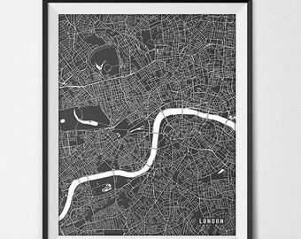 London Map Art Print, London City Map of London Art Poster of England State Map Art UK Art London England Art Decor
