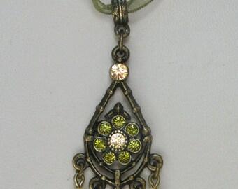1928 Jewelry Olivine Tear Drop Fringe Necklace