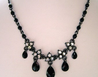 1928 Jewelry Black Diamond-Like Crystal Necklace