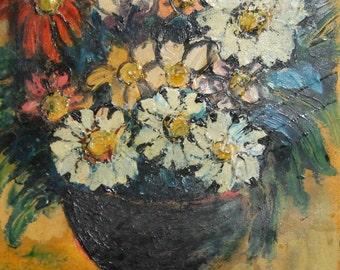 Antique impressionist still life oil painting flowers