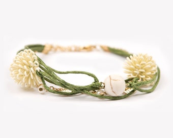 "Bracelet ""Coraille"" green cute elegant"