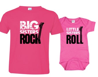 Big Sister Little Sister Shirt set of 2, Sibling Shirts, Big Sisters Rock and Little Sisters Roll RCKSib