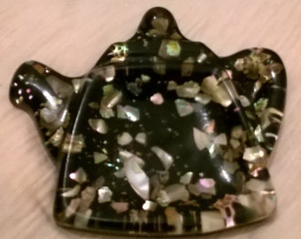 Tea bag/Spoon Rest Alabone Pearly Shell Black Lucite Teapot Shaped