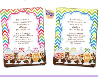 Candy buffet apothecary sweets - birthday invitation - DIY, digital file - custom & personalized