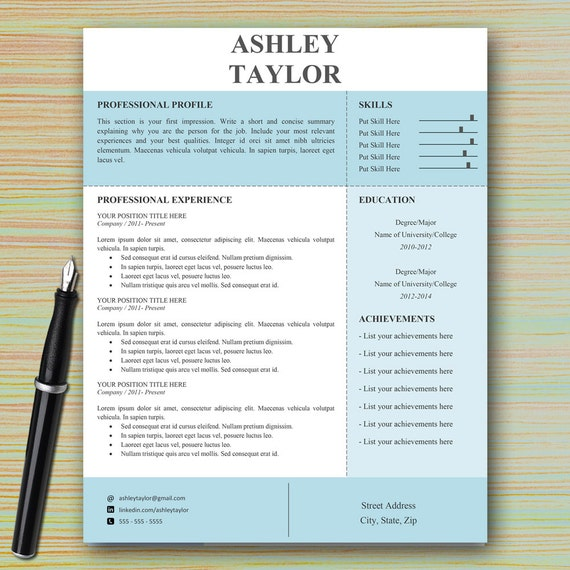 Modern Professional Resume Template for Microsoft Word – Microsoft Word References Template