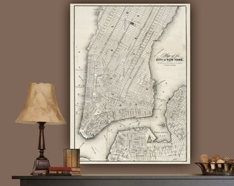 New York City Map, New York Canvas circa 1849, New York Canvas, Canvas Art, New York Wall art, Vintage, New York Poster, New York Print, NYC