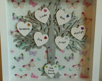 Personalised Box Frame Family Tree. Can Take Up To 8 Names
