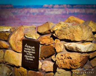 Grand Canyon print, Watchtower Psalm Fine Art Photography, travel wall art bright blue red print rock scripture vibrant decor photo