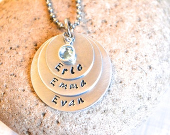 Triplet necklace - triple stack necklace - name necklace - mommy necklace - three name necklace - personalized hand stamped - engraved