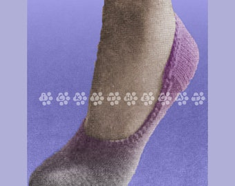 Vintage 1950s Knitting Pattern to make Comfortable Little Socklets or Footlets by A PDF for Immediate Digital Delivery