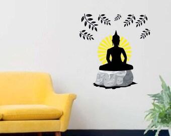Buddha Wall Decal   Reusable Vinyl Fabric   Repositionable Decal   Home  Decor   Buddhism Wall