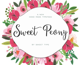 Sweet Peony Hand-Lettered Font Download