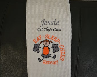 Personalized Machine Embroidered Kitchen Towel - Eat Sleep Cheer Repeat