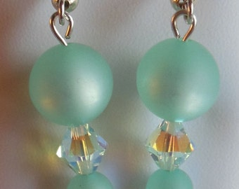 Swarovski Crystal and Ice Blue Polaris bead Hook Earrings