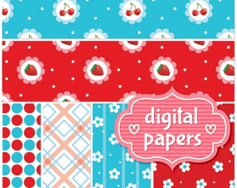 Sweet Berry printable digital paper backgrounds and patterns for personal and commercial use - High Resolution 300 DPI