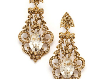 Gold Art Nouveau Chandelier Earring