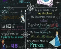 DIGITAL Customized Frozen Chalkboard Sign for Birthday Party Printable digital file