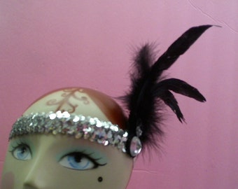Flapper Style Sequin & Feather Headband Adorned with Faux Rhinestones