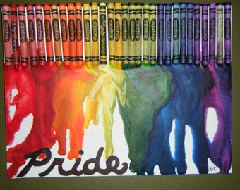 Pride melted crayon art on 9x12 flat canvas. Piece is multi textured.