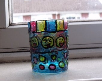 Smiley Face Glass Painted Tea Light Holder/Decoration