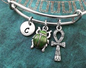 Ankh Bangle Bracelet Scarab Bracelet Egyptian Jewelry Stackable Bangle Adjustable Bangle Green Scarab Beetle Bangle Personalized Bangle