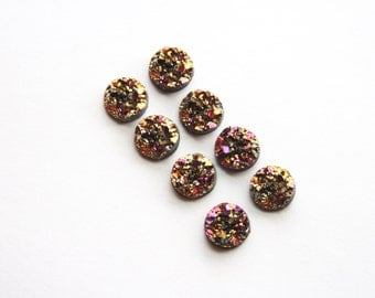 Faux Druzy Chunky Resin Cabochons 10mm - 8pcs - Gold and Pink