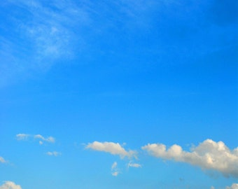 "Nature Photography - Sky and Clouds - Sunny Day - Travel Photography - Blue Wall Decor - ""Blue Skies Ahead"""