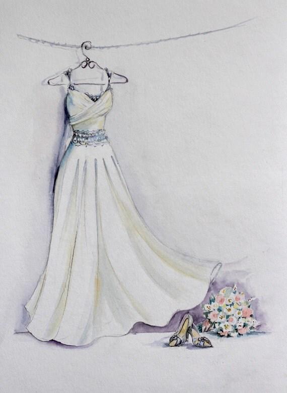 Braut Kleid Aquarell Skizze Mit Bouquet Und Braut Schuhe