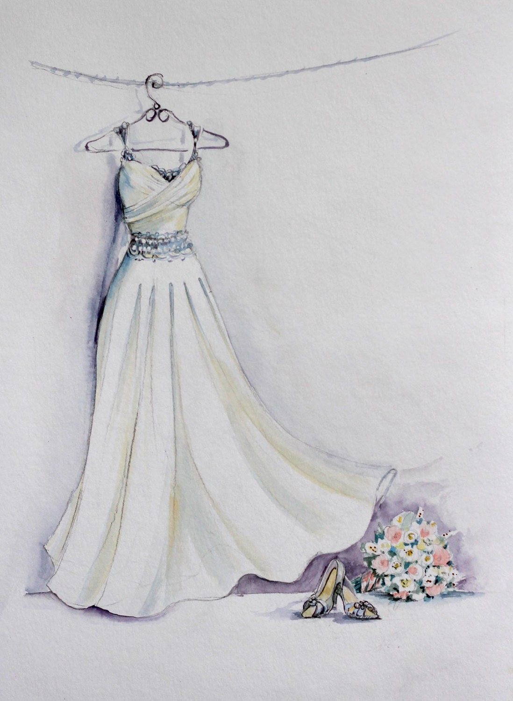 braut kleid aquarell skizze mit bouquet und braut schuhe. Black Bedroom Furniture Sets. Home Design Ideas