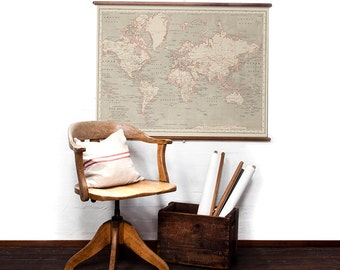 World Map in Coral Pink wall hanging