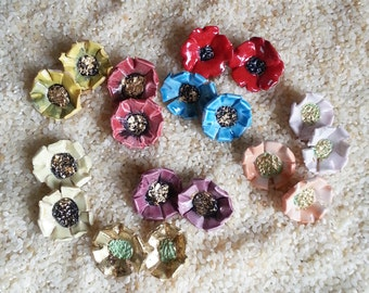 Handmade Artisan Ceramic Clay Porcelain Poppy Flower Bead