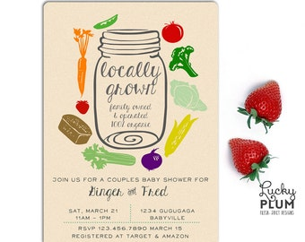 Locally Grown Baby Shower Invitation / Farmer's Market Invite / Fruit Vegetable Invite / Mason Jar Farm Organic Invite / *Digital file*