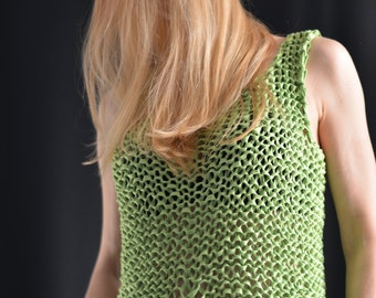 hand knitted summer sweater knitted cotton top bamboo summer vest summer bamboo top no cotton hand knitted tank top knitted summer tank top