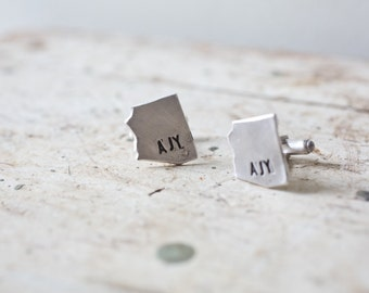 State Cufflinks - Initial Cufflinks Silver - State Cuff Links Personalized State Cufflinks Cufflinks Custom Any State or Country Cuff Links