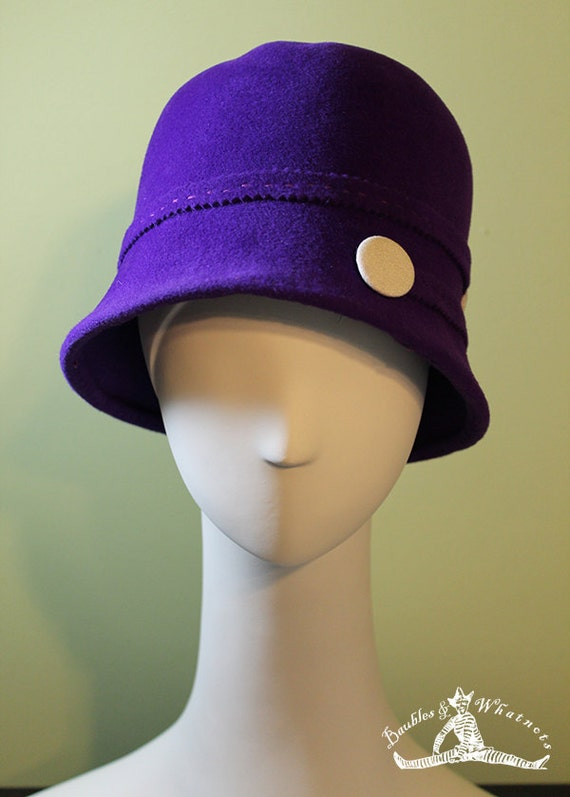 Purple Cloche Hat - Women's Cloche Hat - 1920s Hat - Purple Cloche Felt Hat - OOAK