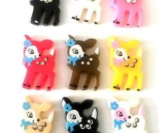 6pc Doe Cabochons Resin Deer Cabochons White Black Pink Kawaii Jewels Rhinestones Japan Deco Supplies Cabs Deer Charms Pendants