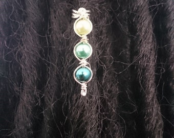 Triple Green Dreadlock bead Cuff